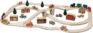 Kids Gift Idea Made In US - Wooden Train Set